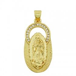 Charm in Ottone Ovale Madonna con Zirconi 15x30mm