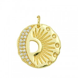 Brass Charm Round Sun Moon w/ Zircon 21mm