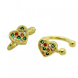 Brass Ear Cuff Heart w/ Zircon 11x12mm/6mm