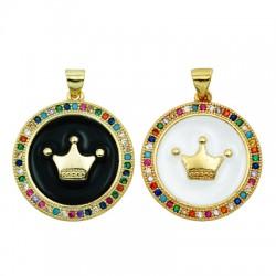 Brass Charm Round Crown w/ Enamel & Zircon 23mm
