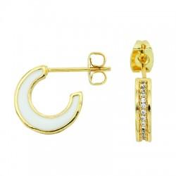 Brass Earring Hoop w/ Zircon & Enamel 11x13mm/3mm