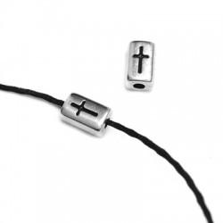 Perle Tube avec Croix en Métal/Zamak 4x6mm (Ø 1,5mm)