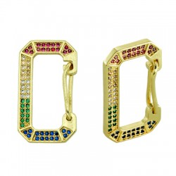Brass Earring Rectangle w/ Zircon 24x14mm