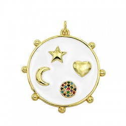 Brass Charm Round Symbols w/ Enamel & Zircon 25mm