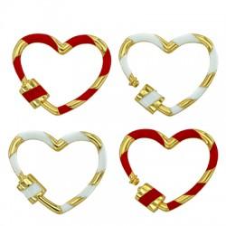 Brass Clasp Lock-Locket Heart w/ Enamel 22x26mm