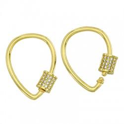Brass Clasp Lock-Locket Drop w/ Zircon 18x25mm