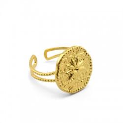 Brass Ring Round Flower 16mm