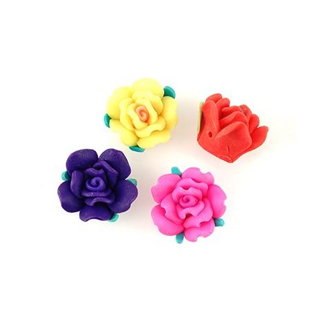 Πολυμερικός Πηλός Λουλούδι Τριαντάφυλλο Φύλλα Περαστό 20mm