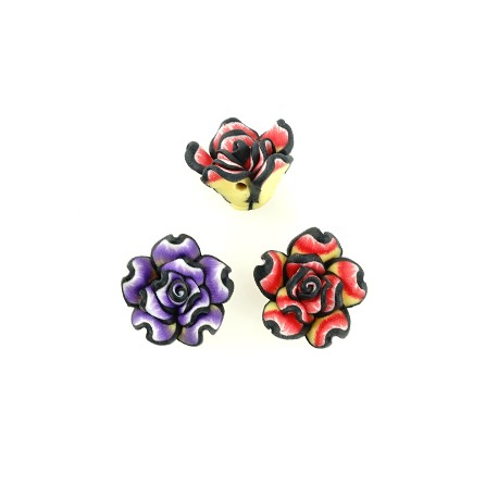 Πολυμερικός Πηλός Στοιχείο Τριαντάφυλλο Λουλούδι Περαστό15mm