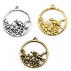Μεταλλικό Ζάμακ Χυτό Μοτίφ Στρογγυλό Λουλούδια 23mm