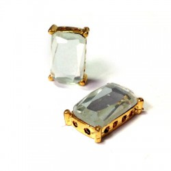 Setting with Glass Rectagular Stone 9x15mm