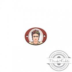 Ξύλινο Στοιχείο Οβάλ Frida Kahlo για Μακραμέ 20x16mm