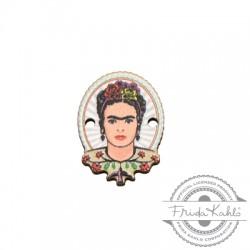 Ξύλινο Στοιχείο Οβάλ Frida Kahlo για Μακραμέ 15x20mm
