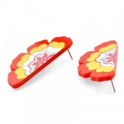 Plexi Acrylic Earring Half Daisy 25x50mm (2pcs/Set)