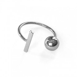 Brass Ring w/ Bar and Bead 21mm