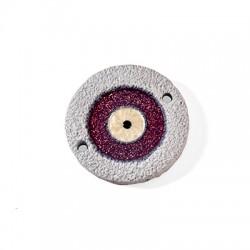 Connettore in Ceramica Grezza Cerchio con Occhio Portafortuna Smaltato 53mm
