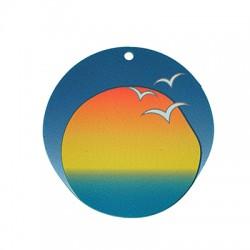 Plexi Acrylic Pendant Round Sunrise Sea Birds 50mm