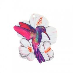 Plexi Acrylic Pendant Flower Bird 42x50mm (2pcs/Set)