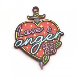 """Pendentif cœur en Plexiacrylique """"Love & Anger"""" 39x50mm"""