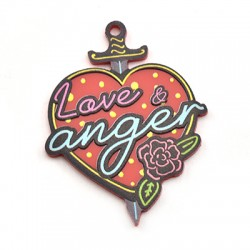 "Plexi Acrylic Pendant Heart Sword ""Love & Anger"" 39x50mm"