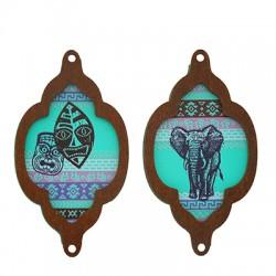 Wooden Pendant Frame Mask Elephant 34x60mm (2pcs/Set)