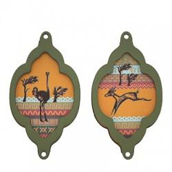 Wooden Pendant Frame Ostrich Antelope 34x60mm (2pcs/Set)