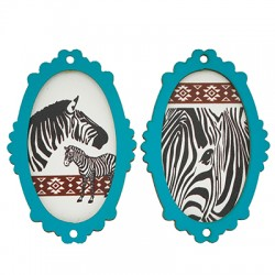 Wooden Pendant Frame Zebra 37x55mm (2pcs/Set)