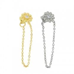 Brass Earring Chain w/ Zircon Flower & Back Safety 10mm
