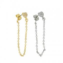 Brass Earring Chain w/ Zircon Heart & Back Safety 8mm