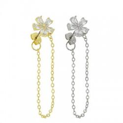 Brass Earring Chain w/ Zircon Flower & Back Safety 11mm