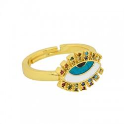 Brass Ring Eye w/ Zircon & Enamel 21x22mm