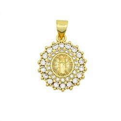 Brass Charm Oval Religious w/ Zircon 15x18mm