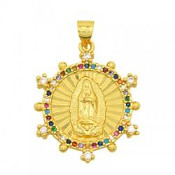 Charm in Ottone Rotondo Madonna con Zirconi 22mm