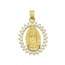 Charm in Ottone Ovale Madonna con Zirconi 16x22mm