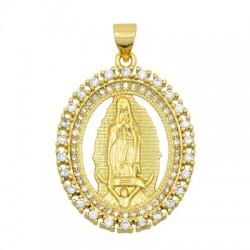 Charm in Ottone Ovale Madonna con Zirconi 22x29mm