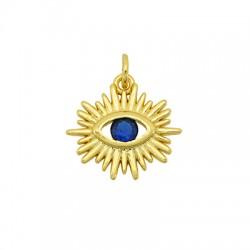 Brass Charm Evil Eye w/ Zircon 17x16mm