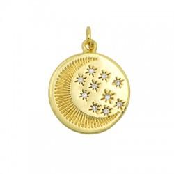 Brass Charm Round Moon Star w/ Zircon 18mm
