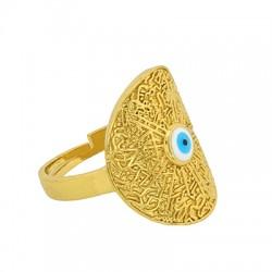Brass Ring Oval Evil Eye w/ Enamel 21x18mm/21mm