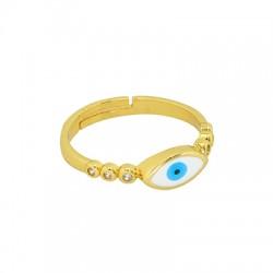 Brass Ring Oval Evil Eye w/ Enamel 20mm