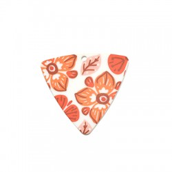 Plexi Acrylic Pendant Triangle w/ Flowers 44x42mm
