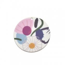 Pendentif rond floral en Plexiacrylique 50mm