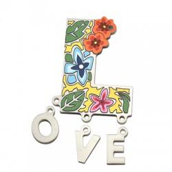 """Πλέξι Ακρυλικό Μοτίφ Λέξη""""Love"""" 31x42mm (4τμχ/Σετ)"""