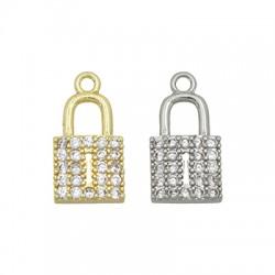 Brass Charm Padlock w/ Zircon 14x7mm
