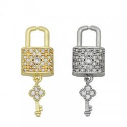 Brass Charm Padlock & Key w/ Zircon 15x9mm & 11x5mm