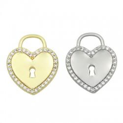 Brass Charm Padlock Heart w/ Zircon 19x16mm
