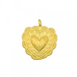 Brass Charm Heart 13mm