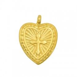 Brass Charm Heart w/ Cross 14x15mm
