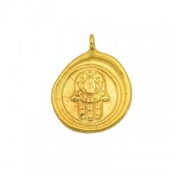 Brass Charm Round Hamsa Hand Fatima 14mm