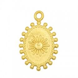 Brass Charm Oval w/ Sun 15x19mm