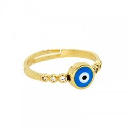 Brass Ring Roundl Evil Eye w/ Enamel 5x10mm/20mm